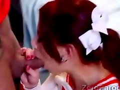 2 Gorgeous cheerleaders sucking hefty dicks in parody