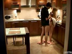 A Hidden Camera Of A Teen Couple Fucking In the Kitchen