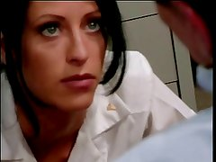 Brunette nurse getting ass fucked at the desk