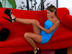 Pigtails teen in tight blue dress solo