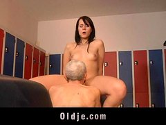 Leda practices sexual exercises with an Oldje