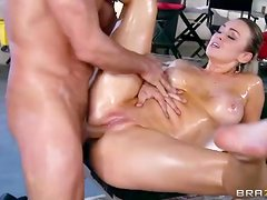 Sexy oil massage ends with Abbey Brooks fucking