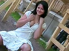 White dress girl flashes in public
