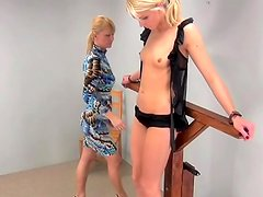 Skinny beauty bound for a flogging