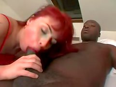 Double anal with redhead in red lingerie