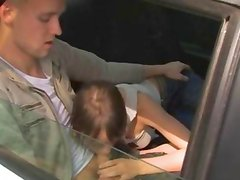 Amazing schoolmate threesome in the car