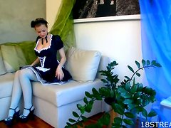 Horny Maid Gets Off With A Dildo While Cleaning A Suite