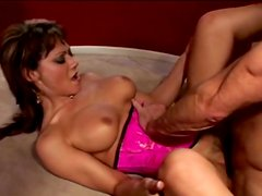 Tight pink corset on slut that fucks hard