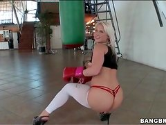 Blonde shakes her ass in sexy white pantyhose