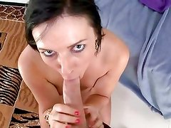 Gorgeous Ashli Orion throat fucks this stiff cock