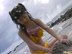 Shy Japanese Teen Ran Monbu Gets a Mouthful in Blowjob at the Beach