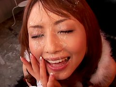 Nasty Japanese Santa girl Akiho Yoshizawa lets her BF cum on her face
