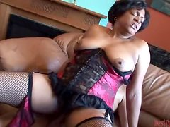 Hairy Ebony Babe Fucks With a Guy in a Raunchy Scene