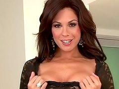 Hot brunette Kirsten Price lifts her sexy black blouse