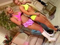 Two adorable blonde chicks getting fucked hard and deep