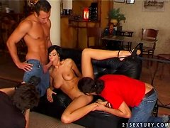 Champagne fun in a hot threesome sex with Eva Black