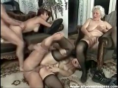 An orgy with old ladies in the living room