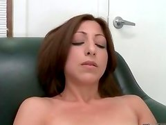 Sexy brunette babe gets horny getting