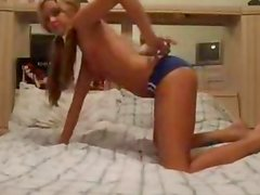 Super hot teen with pigtails strips and fingers