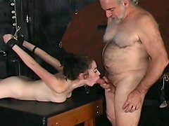 Sexy cutie sucking cock of an old man!