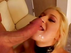 Heather Gables gets her face drenched with warm cum