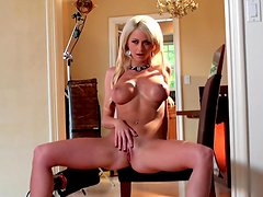 Sexy blonde Emily Addison playing with her nice sexy vagina