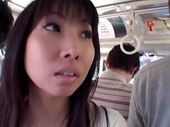 Hot Japanese chick getting her pussy sfilled on the bus