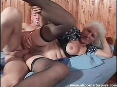 Hairy granny in stockings fucked hardcore