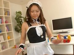 Cute Asian In Maid Uniform Gets Facial After Giving BJ