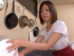 Japanese Woman Gets Fucked In The Kitchen