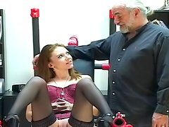 Old fart allows to young lady to make a blowjob