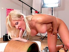 Kassey Krystal sucking and riding on the rubber cock
