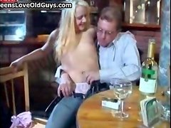 Horny old man gets his dick sucked