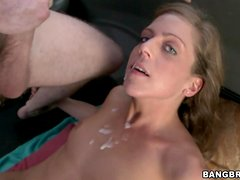 Katlyn Snow the hot blonde in glasses rides a cock in a BangBus