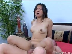 Asian in pretty dress stripped and fucked hard