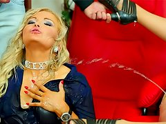 Clothe babes Celine Noiret and Jenna Lovely craves to get piss
