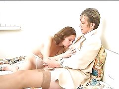 Horny girl seduces eager granny