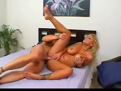 Golden haired babe with massive jugs gets ravaged