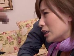 Kaho Kasumi sucks many dicks and slams her pussy with a toy