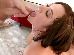 Jayden James gets her face doused with warm jizz