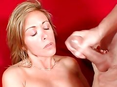 Brooke Biggs gets her face plastered with warm cum