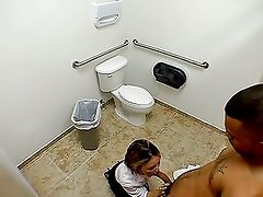 Amateur bitch service a cock in public toilet
