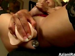 Busty blonde milf goes crazy dildo