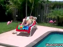 GF strips bikini and sucks cock by pool