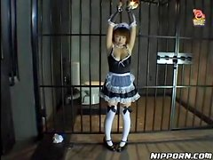 French maid put in bondage and covered in food