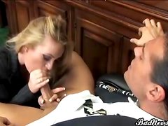 Secretary in pantyhose fucked by her boss