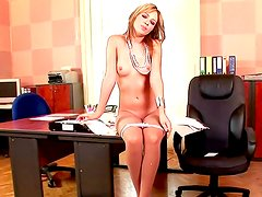 Hot office babe Nikita Williams playing with her toy