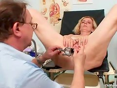 Sexy old lady gynecology exam