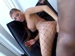 Dark skinned Asian in fishnet stockings anal drilled