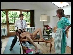 Retro beauty sucks cock and gets pussy licked
